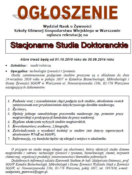 StudiaIIIstopniaOgłoszenie2010-2014